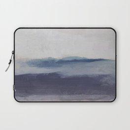 Plum Purple Navy Lavender Blue Abstract Painting Wall Art Prints, Ocean Waves Horizon, Modern Wall Laptop Sleeve