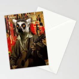 Lemur Busker in Paris Stationery Cards