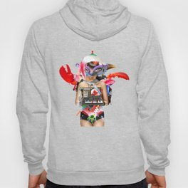 Red Synth Lobster Space Goggle Girl Hoody