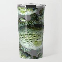 SCHOOL OF GREEN FISH  IN GREY Travel Mug