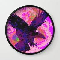 eagle Wall Clocks featuring eagle by giancarlo lunardon