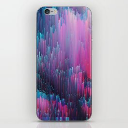Bold Pink and Blue Glitches iPhone Skin