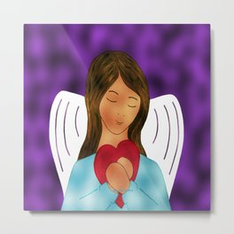 You Are Loved Expressed By Angel Wth Heart By Annie Zeno Metal Print
