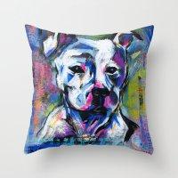 brad pitt Throw Pillows featuring BABE PITT by RaE Bright