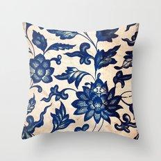 Blue Oriental Vintage Tile 06 Throw Pillow