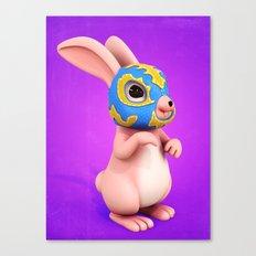 Lucha Rabbit-Pink Sister Canvas Print