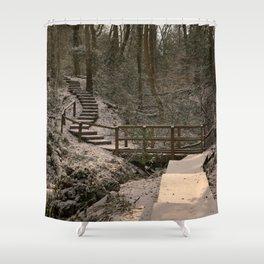 Snowy Ironbridge Gorge Shower Curtain