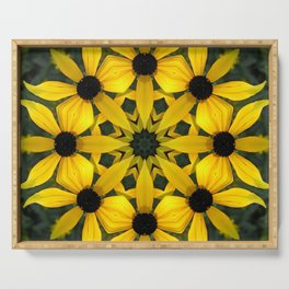 Black-eyed susan kaleidoscope, mandala Serving Tray