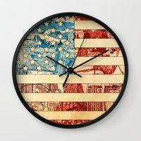 usa Wall Clocks featuring USA by Bekim ART