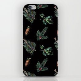 Winter Foliage in Coal Black iPhone Skin
