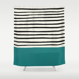 Teal x Stripes Shower Curtain