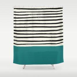 Teal x Stripes Shower Curtain