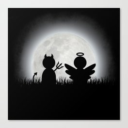 Angel and Devil Moon Meeting Canvas Print