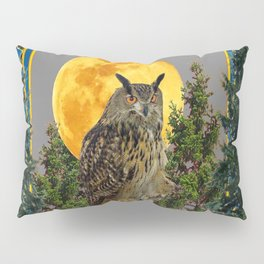 WILDERNESS OWL WITH FULL MOON PINE TREES Pillow Sham