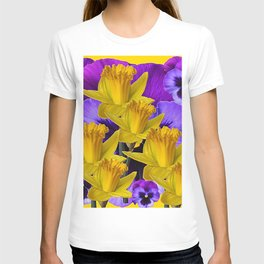 YELLOW DAFFODILS AGAINST PURPLE PANSIES T-shirt