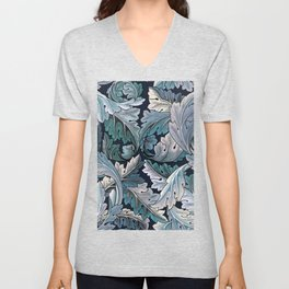 Art Nouveau William Morris Blue Acanthus Leaves Unisex V-Neck