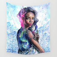 northern lights Wall Tapestries featuring Northern Lights by Tanya Shatseva