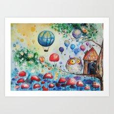Owls world Art Print