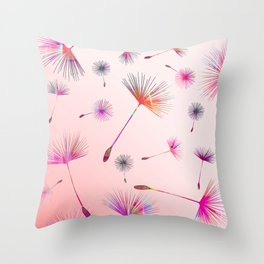 Festive Colorful Dandelions Design Throw Pillow