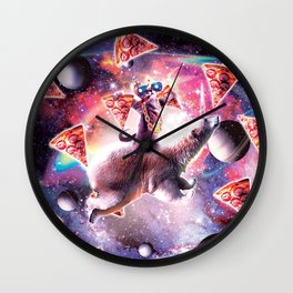 Thug Space Cat On Polar Bear Unicorn - Pizza Wall Clock
