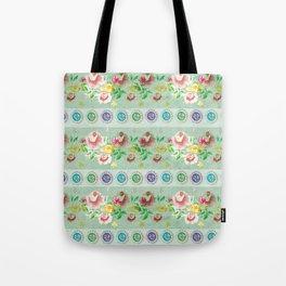 aqua button floral Tote Bag
