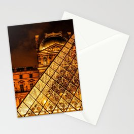 France Photography - Louvre Pyramid Shining In The Night Stationery Cards