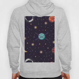 Universe with planets, stars and astronaut helmet seamless pattern 001 Hoody
