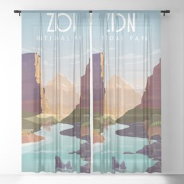Zion national park  vintage travel poster Sheer Curtain