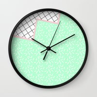 memphis Wall Clocks featuring MEMPHIS GREEN by Rocío Olmo