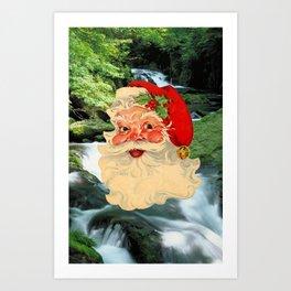 Christmas Card (Santa Waterfall) Art Print