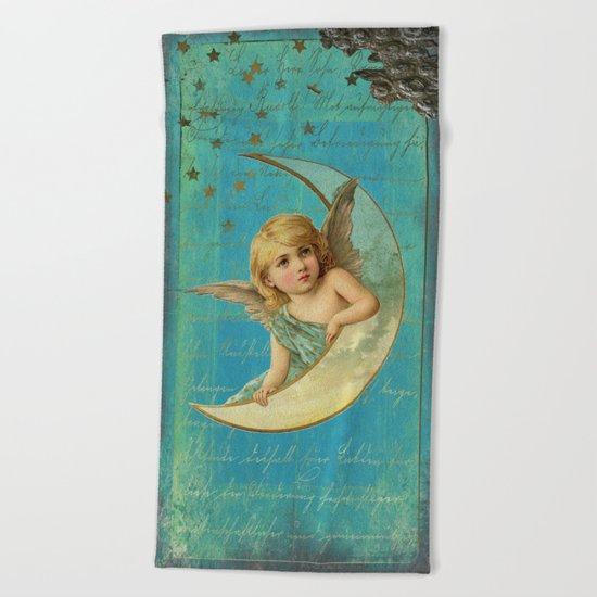 Vintage-Shabby-chic- Beautiful Christmas angel on aqua backround Beach Towel