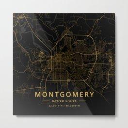 Montgomery, United States - Gold Metal Print