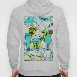 Summer Pool Party Cocktails , Watercolor Painting in Aqua Tequila Sunrise Colors Hoody