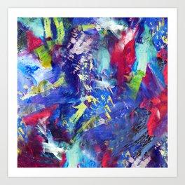 Blue Paint Splash Art Print