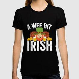 A Wee Bit Irish St Patricks Day Gold Clover Coins T-shirt