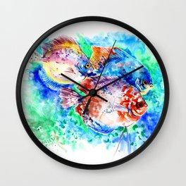 Underwater Scene Artwork, Discus Fish, Turquoise blue pink aquatic design Wall Clock