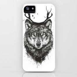 Deer wolf (b&w) iPhone Case