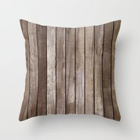 wooden Throw Pillows featuring Wooden Texture by Patterns and Textures