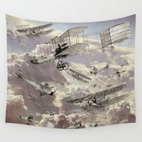 airplanes Wall Tapestries featuring airplanes 2 by Кaterina Кalinich