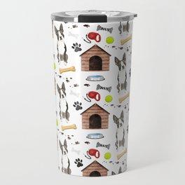 Boston Terrier Dog Half Drop Repeat Pattern Travel Mug