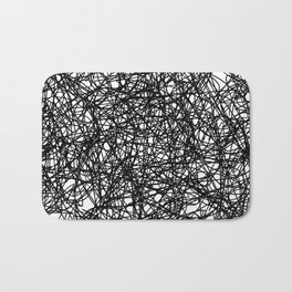 Angry Scribbles - Black and white, abstract, black ink scribbles pattern Bath Mat