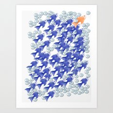 100 fishes Art Print