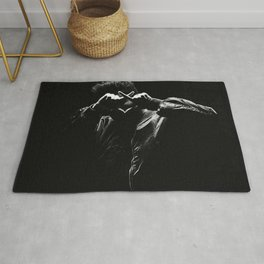 The.Weeknd Portrait black and white Rug