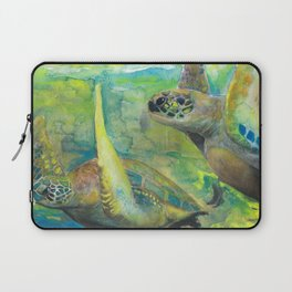 """Giant Sea Turtle Watercolor Fine Art Print Reproduction Painting """"The Lovers"""" Laptop Sleeve"""