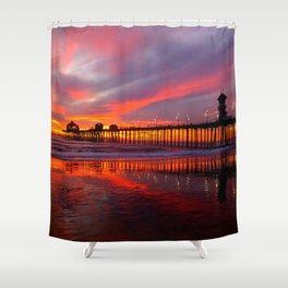 Sunset At The Pier * Huntington Beach, California Shower Curtain