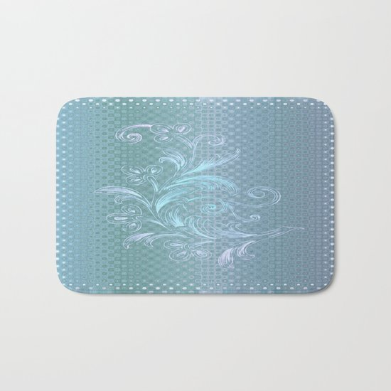 Dots and Stripes Floral Abstract – Blue Bath Mat