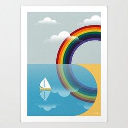Rainbow by the Sea Art Print