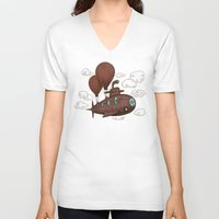 voyage V-neck T-shirts featuring The Fantastic Voyage by Terry Fan
