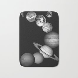 the solar system Black and white Bath Mat