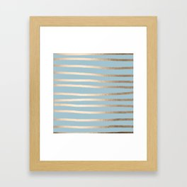 Abstract Drawn Stripes Gold Tropical Ocean Sea Blue Framed Art Print